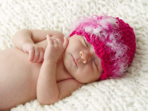 Framed Baby In Pink Fuzzy Hat Print