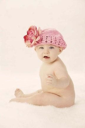 Framed Baby In Pink Bloom Cap I Print