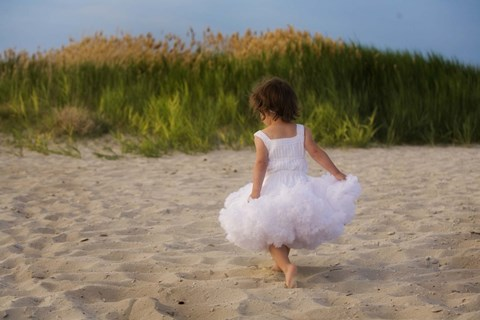 Framed Little Girl In White Beach Dress Print