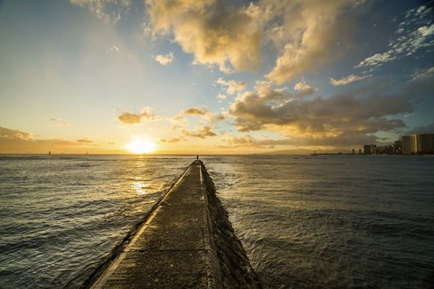 Framed Waikiki Jetty Sunset Print