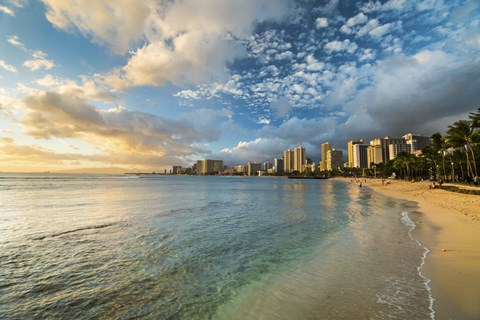 Framed Waikiki Queens Sunset Print