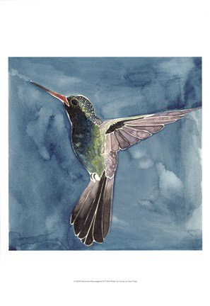 Framed Watercolor Hummingbird II Print
