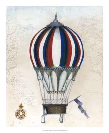 Framed Vintage Hot Air Balloons VI Print