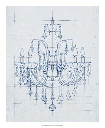 Framed Chandelier Draft I Print