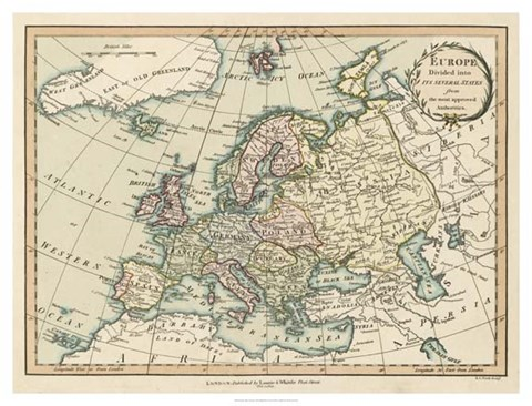 Framed Historic Map of Europe Print
