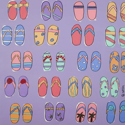 Framed Flip Flops - Purple Print