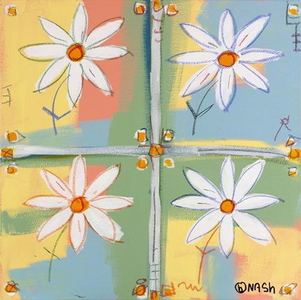 Framed Four Daisies Print