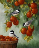 Apple Harvest Chickadees Art