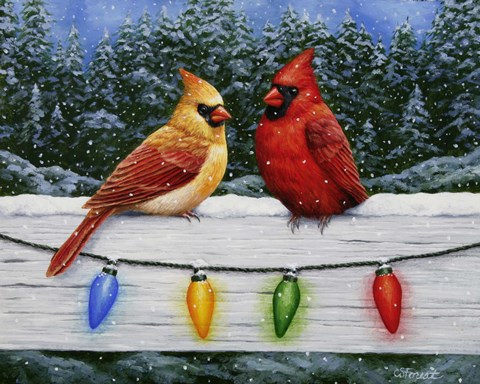 Framed Christmas Cardinals Greeting Card Print