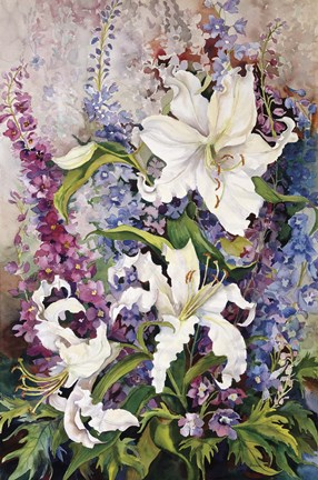Framed White Oriental Lilies & Pink And Purple Delphinium Print