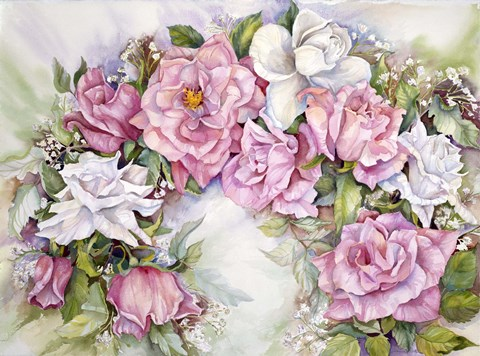 Framed Arch Of Pink & White Roses Print