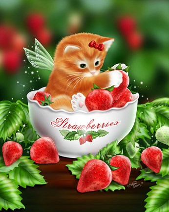 Strawberry Kitten Fine Art Print By Melissa Dawn At