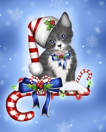 Candy Cane Kitten Fine Art Print By Melissa Dawn At