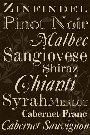 Framed Red Wine Typography Print