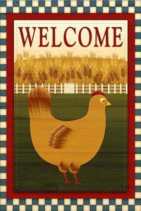 Framed Welcome Hen Print