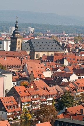 Framed Skyline of Bamberg, Germany Print