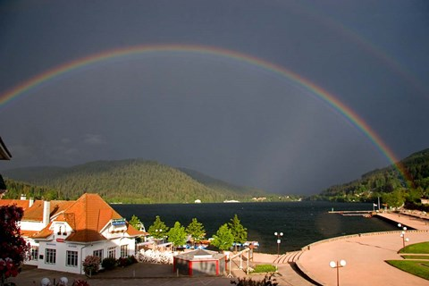 Framed Rainbows at Lake Gerardmer, France Print