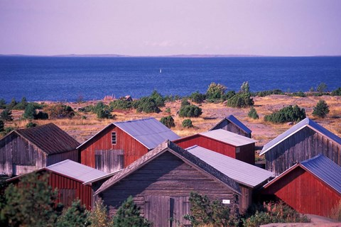 Framed Boathouses of the Aland Islands, Finland Print
