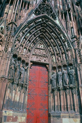 Framed Cathedral Entrance, Strasbourg, France Print