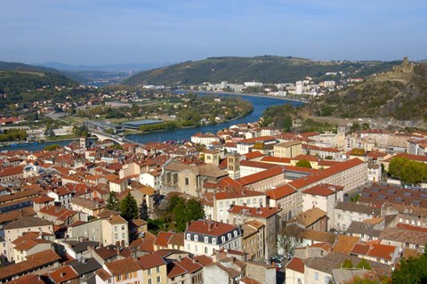 Framed Aerial View of Vienne, France Print