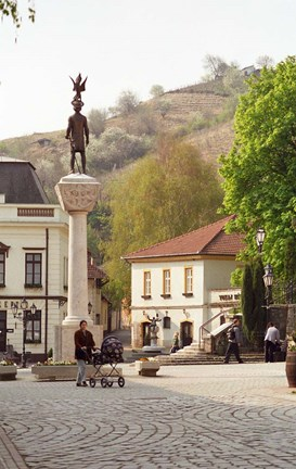 Framed Main Square with Statue, Tokaj, Hungary Print