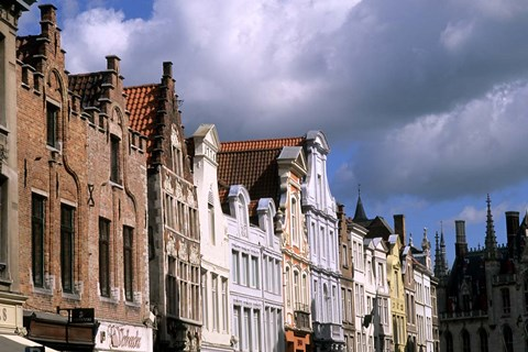 Framed Buildings in Bruges, Belgium Print