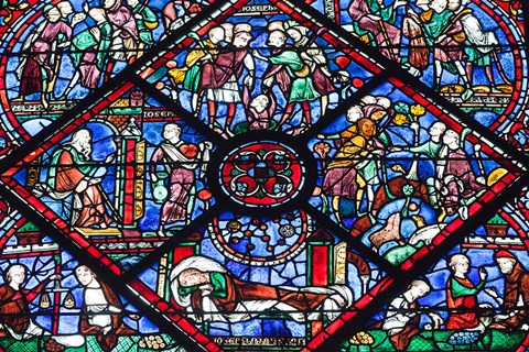 Framed Chartres Cathedral Stained Glass Print