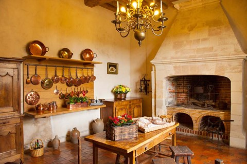 Framed Kitchen at Chateau Villandry near Tours, France Print