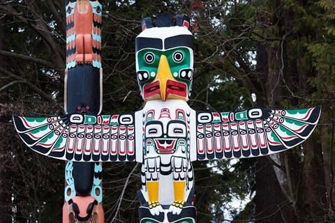 Framed British Columbia First Nation Totems Print