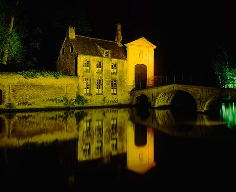 Framed Beguinage at Night, Bruges, Belgium Print