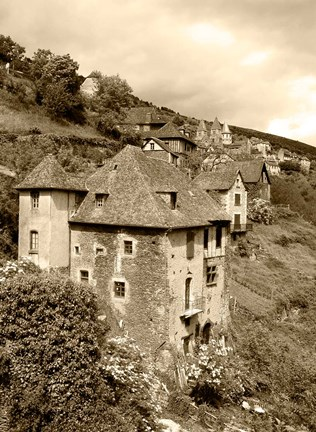 Framed Medieval houses, Aveyron, Conques, France Print