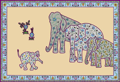 Framed Elephant Right Page Print