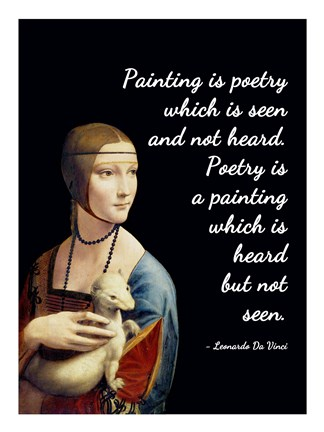 Framed Painting is Poetry - Da Vinci Quote 1 Print