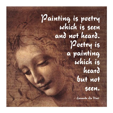 Framed Painting is Poetry -Da Vinci Quote 2 Print