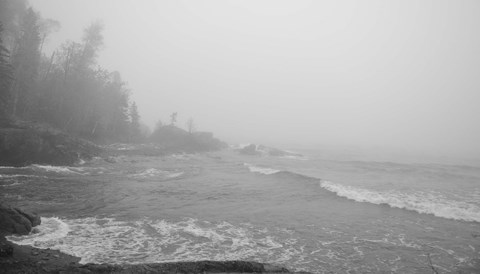 Framed Lake Superior Black And White 29 Print