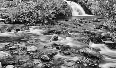 Framed Water Rushing Over Rocks Print