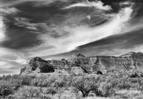 Framed Mountain Cliffs And Sky Black And White Print