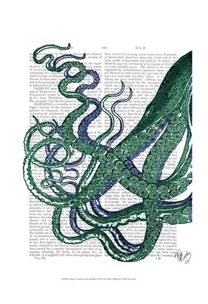 Framed Octopus Tentacles Green and Blue Print