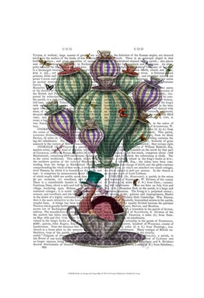 Framed Dodo in Teacup with Dragonflies Print