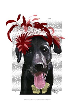 Framed Black Labrador With Red Fascinator Print