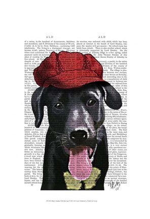 Framed Black Labrador With Red Cap Print