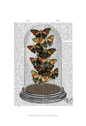 Framed Multicoloured Butterflies in Bell Jar Print