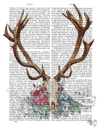 Framed Deer Skull With Flowers 1 Print
