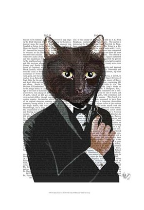 Framed James Bond Cat Print