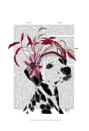 Framed Dalmatian With Red Fascinator Print