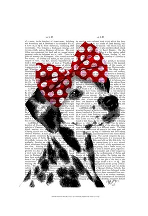 Framed Dalmatian With Red Bow Print