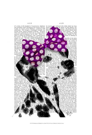 Framed Dalmatian with Purple Bow on Head Print