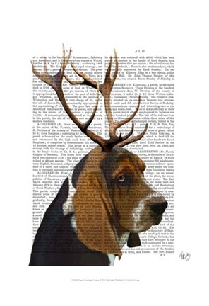 Framed Basset Hound and Antlers I Print