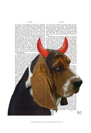 Framed Basset Hound and Devil Horns Print