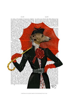 Framed Elegant Greyhound and Red Umbrella Print